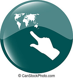 icon with people hand and world map sign. Arrows symbol....