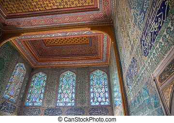 Decorated wall and roof in Topkapi Palace - Detailed view of...