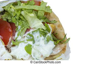 Shawarma - Close-up of Shawarma isolated over a white...