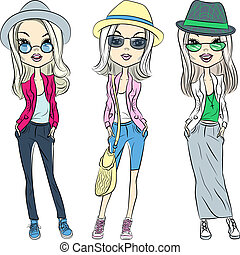 Vector beautiful fashion hipster girls in hats and glasses -...