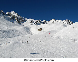 Skiing in swiss alps (Scuol, Switzerland)