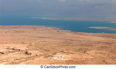 Dead Sea view from the mountain top - Dead Sea Salt Sea -...