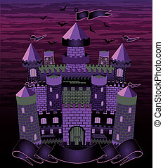 Old witch  haunted castle card