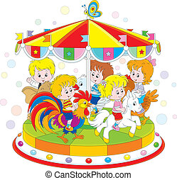 Carousel - Children riding on a funny carousel in an amusing...