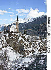 Small church in Scuol (Switzerland)