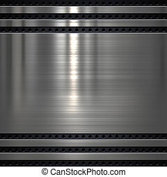 Metal plate background - Metal plate on metal mesh...