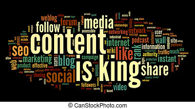 Content is king conept in word tag cloud - Content is king...