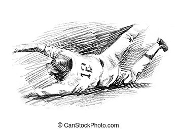 Baseball player home run slide drawing. A hand drawn of...