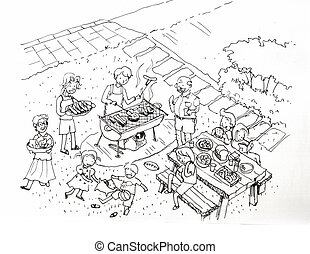 Barbecue party at the yard illustration