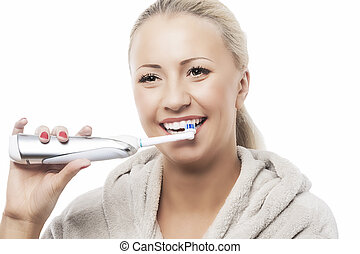 Dental Hygiene Concept:Caucasian Woman Brushing Her Teeth...