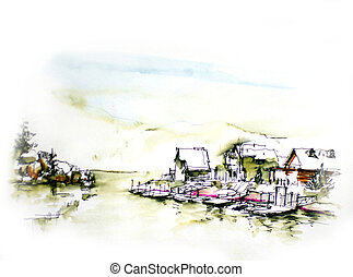 House resort by the lake in mountain illustration.Vacation...