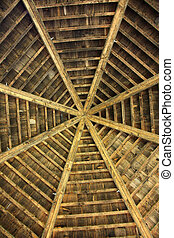 Wooden roof - Closeup photo about a wooden roof from below