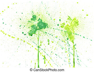 Green Paint Background - Abstract painted texture of green...