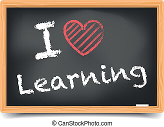 Blackboard love learning - detailed illustration of a...