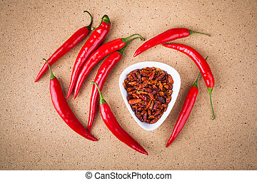 Fresh and dried chili peppers - Fresh and dried red hot...