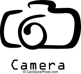 Camera icon - Stylized black and white doodle sketch of a...