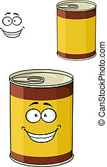 Cartoon can of tinned food with a happy smiling face