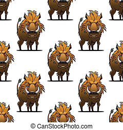 Fierce angry wild boar or warthog seamless pattern standing...