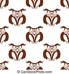 Wise old owl seamless background pattern in a brown and...
