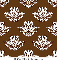 Brown and white floral seamless pattern