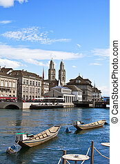 Zurich cityscape - View of Limmat river (Zurich,...