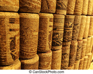 closeup many different wine corks in perspective view