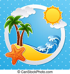 Tropical island - Vector illustration - Tropical island...