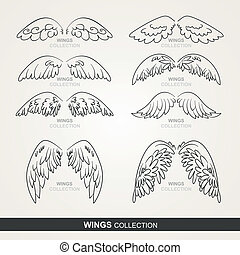 wings collection (set of wings) - stylized wings