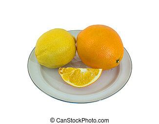 Orange and Lemon 1 - A close-up of the orange and lemon on...