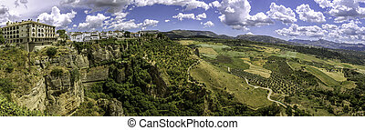 Ronda landscape panoramic view. A city in the Spanish...