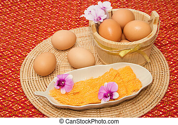 Golden threads thai dessert ,thai sweets made form egg yoke...