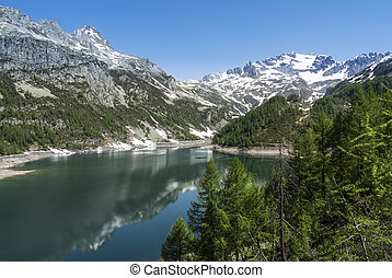 Devero Lake, spring season - Italy - Devero Alp and Lake...