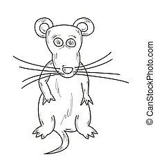 sketch of the mouse - vector illustration, sketch of the...