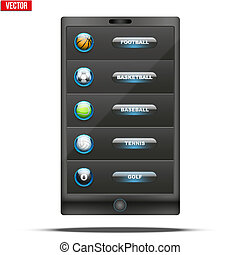 Glass icon sports themes for website or app - Glossy Glass...