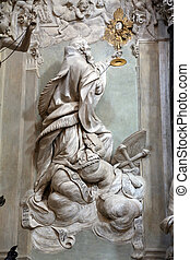 Statue of Saint in the church of Saint Vitale Parma...