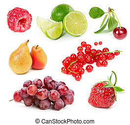 Set of fruits and berries