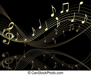 Background with music notes - Black and gold Background with...