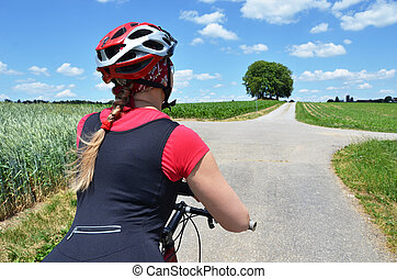 Girl riding a mountain bike