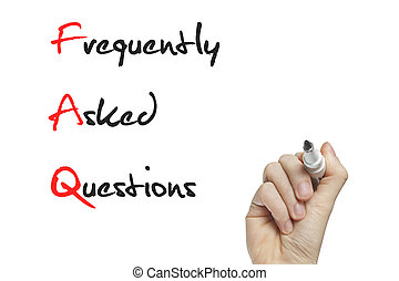 Hand writing frequently asked questions on a white board