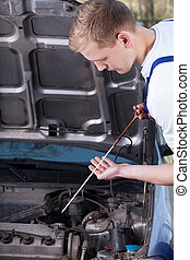 Mechanic checking oil level - A mechanic doing the oil level...