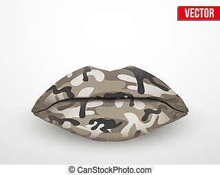 Beautiful luscious lips. Camo texture Vector Illustration. -...