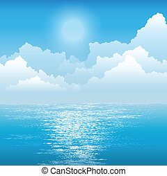sun over the ocean - summer blue sky with light white clouds...