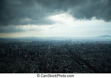Taipei under Heavy Clouds - Aerial view of Taipei, Taiwan...