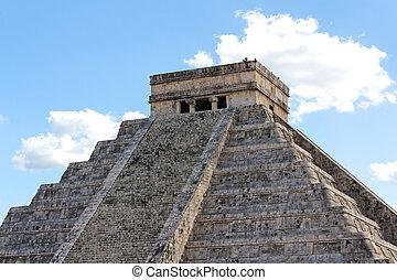 El Castillo Pyramid at Chichen Itza - El Castillo, temple...