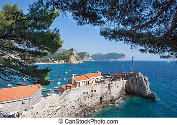 Petrovac, Montenegro - The Petrovac fortress on the sea,...