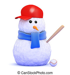 3d Baseball snowman - 3d render of a snowman playing...
