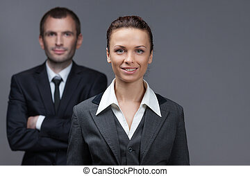 Portrait of business male and female colleagues