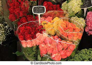 Roses at a market - Roses at a flower stall at the market in...