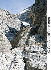 Rope bridge over gorge (Upper glacier, Grindelwald,...