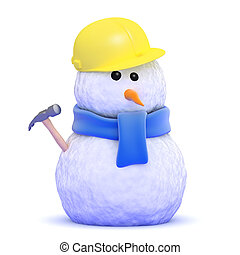 3d Builder snowman - 3d render of a snowman construction...